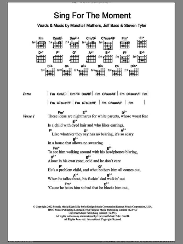 Sing For The Moment sheet music for guitar (chords) by Steven Tyler, Eminem and Marshall Mathers