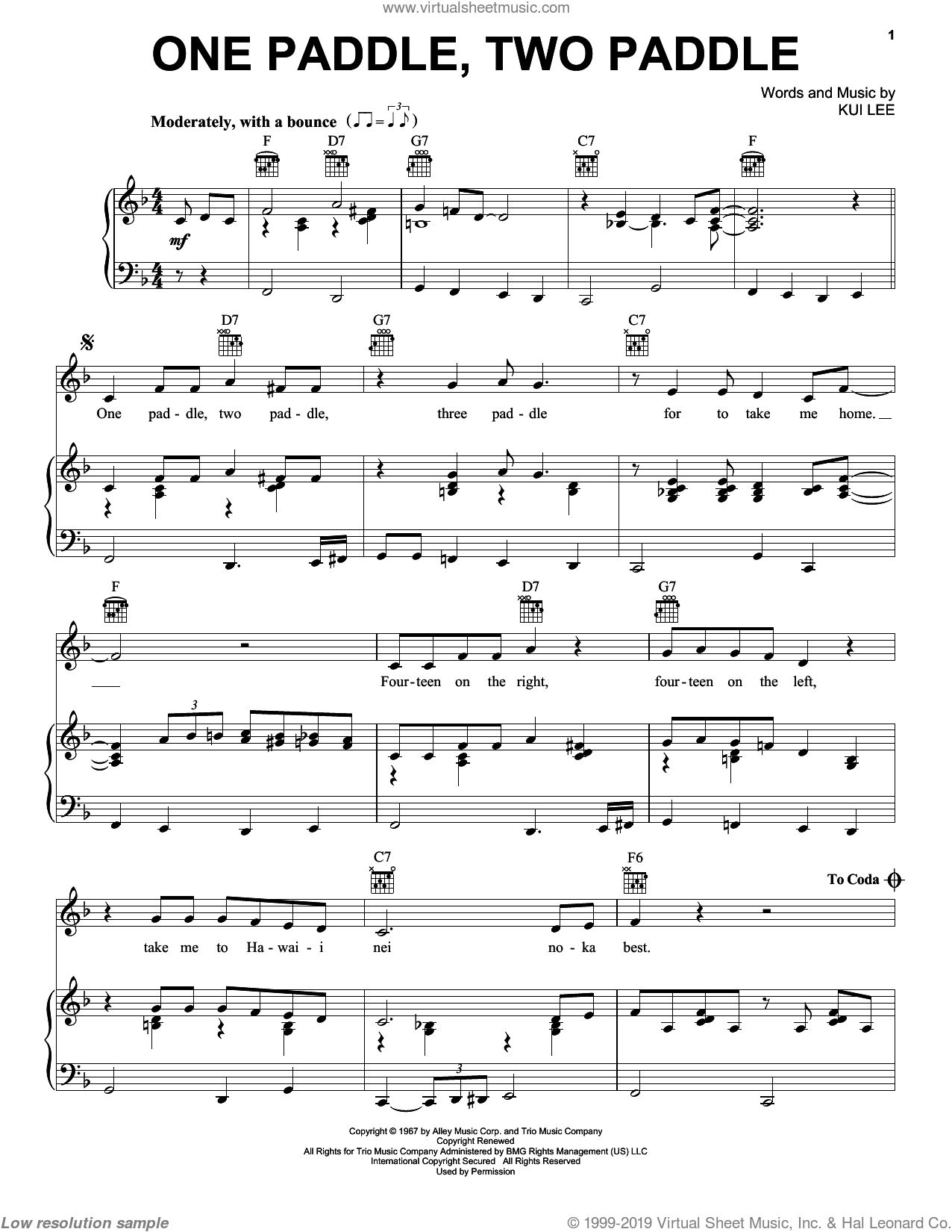 One Paddle, Two Paddle sheet music for voice, piano or guitar by Don Ho, Ray Conniff and Kui Lee, intermediate skill level