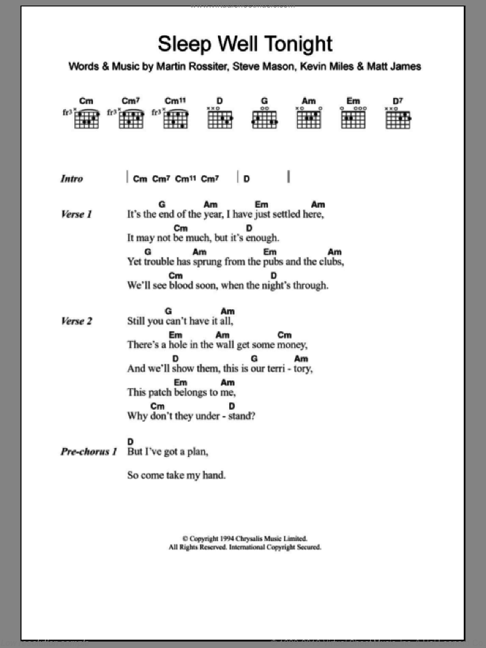 Sleep Well Tonight sheet music for guitar (chords) by Gene, Kevin Miles, Martin Rossiter, Matt James and Steve Mason, intermediate skill level