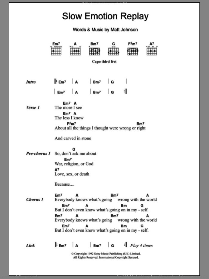 Slow Emotion Replay sheet music for guitar (chords) by The The and Matt Johnson, intermediate skill level
