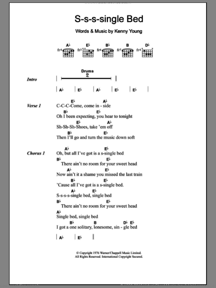 S-S-S-Single Bed sheet music for guitar solo (chords, lyrics, melody) by Kenny Young