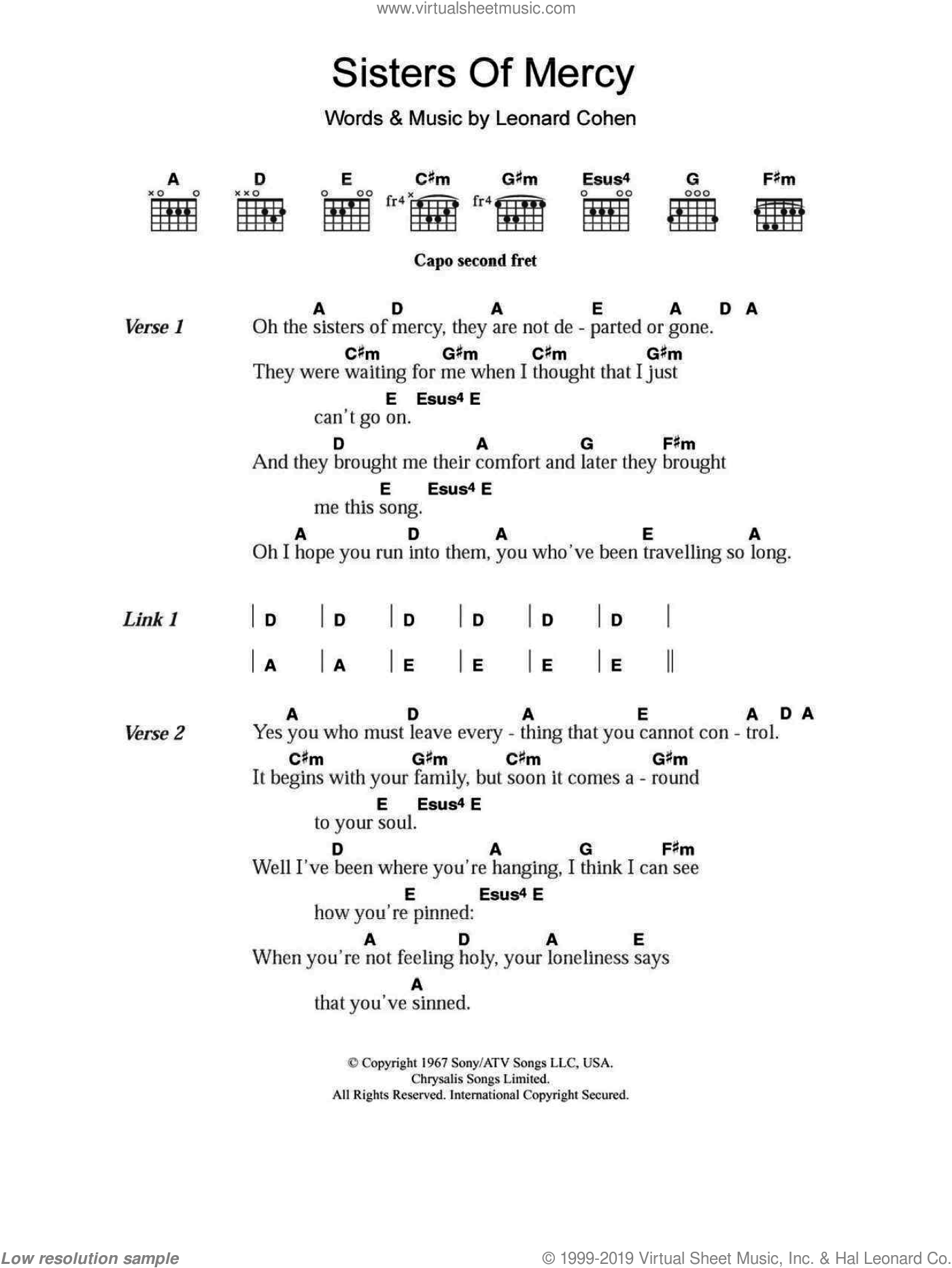 Sisters Of Mercy sheet music for guitar (chords) by Leonard Cohen, intermediate
