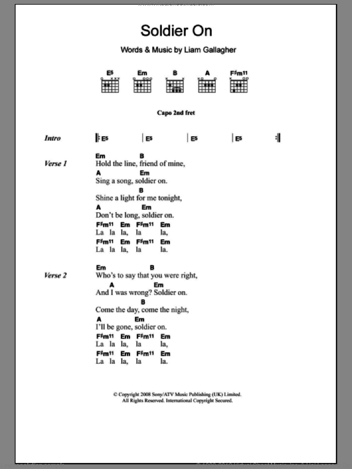 Soldier On sheet music for guitar (chords) by Liam Gallagher and Oasis. Score Image Preview.
