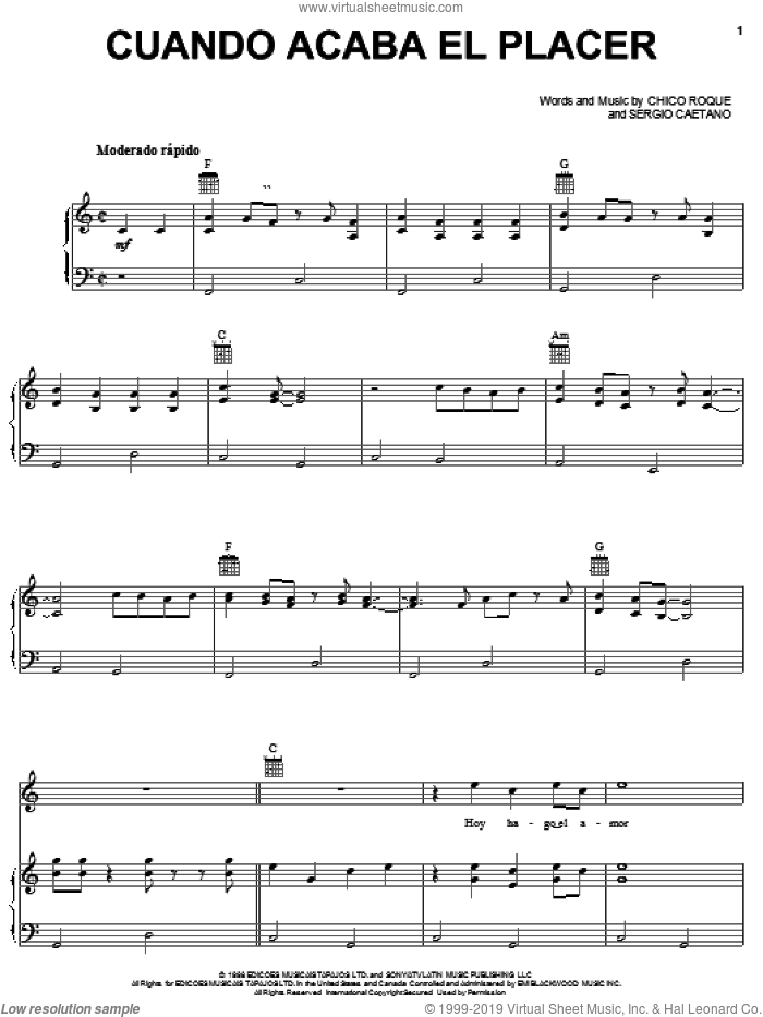 Cuando Acaba El Placer sheet music for voice, piano or guitar by Tonny Tun Tun, Chico Roque and Sergio Caetano, intermediate skill level