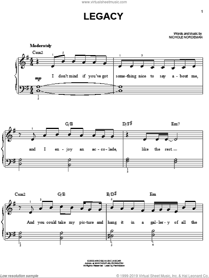 Legacy sheet music for piano solo by Nichole Nordeman, easy skill level