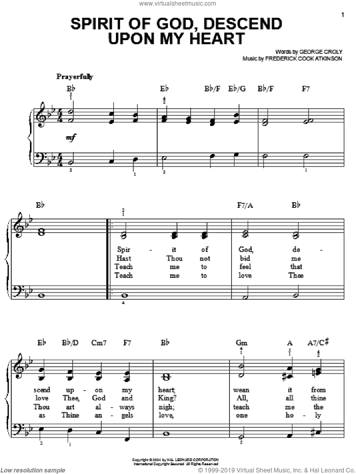 Spirit Of God, Descend Upon My Heart, (easy) sheet music for piano solo by George Croly and Frederick Cook Atkinson, easy skill level