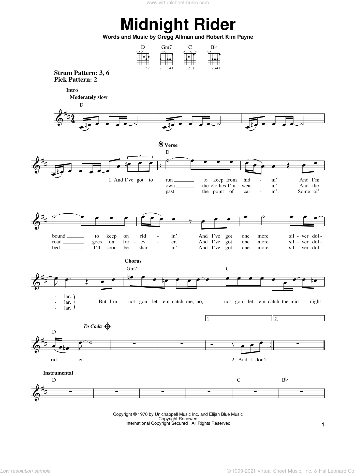 Midnight Rider sheet music for guitar solo (chords) by Allman Brothers Band, The Allman Brothers Band, Gregg Allman and Robert Kim Payne, easy guitar (chords)