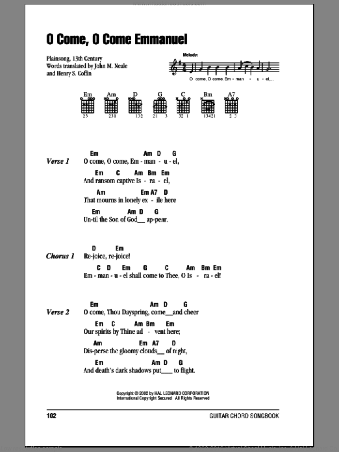 O Come, O Come Immanuel sheet music for guitar (chords) by John Mason Neale, 13th Century Plainsong and Henry S. Coffin, intermediate skill level