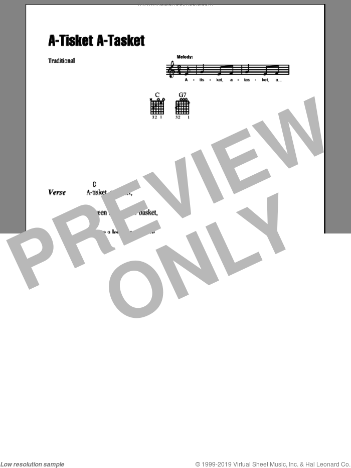 A-Tisket A-Tasket sheet music for guitar (chords). Score Image Preview.