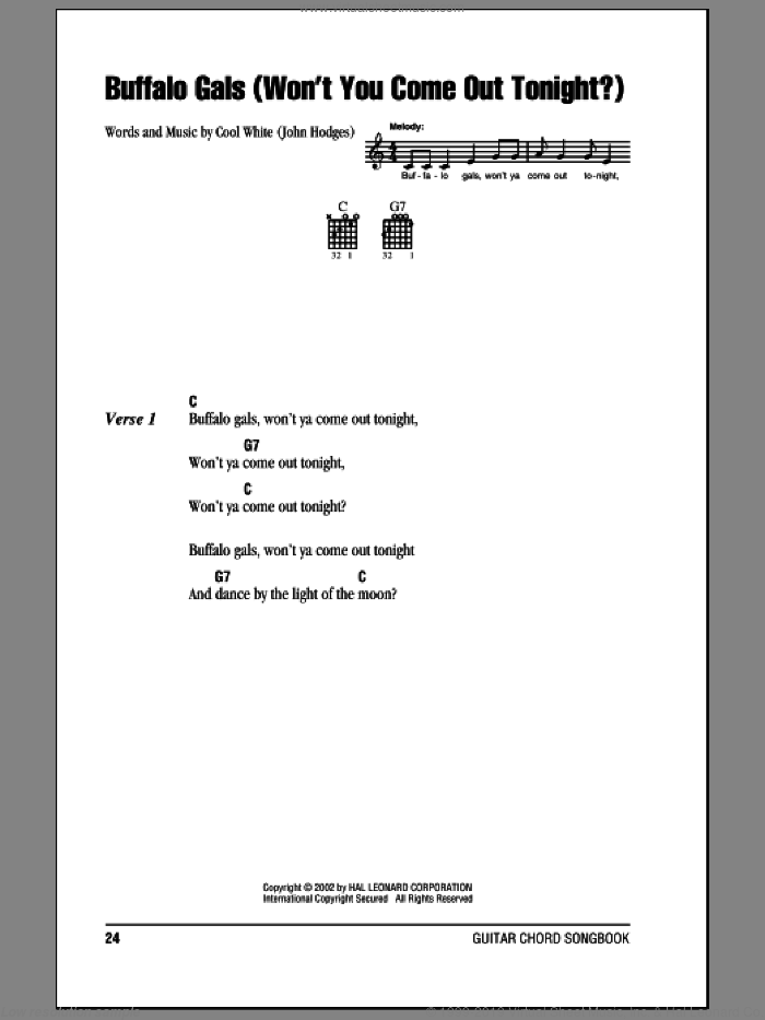 Buffalo Gals (Won't You Come Out Tonight?) sheet music for guitar (chords) by Cool White and John Hodges, intermediate skill level