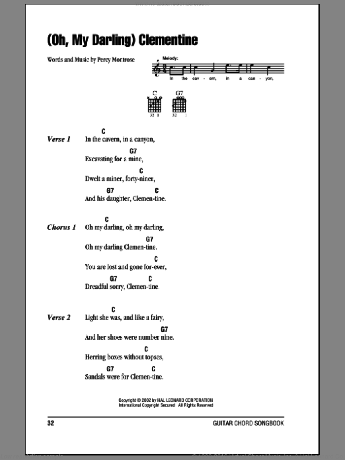 (Oh, My Darling) Clementine sheet music for guitar (chords) by Percy Montrose. Score Image Preview.
