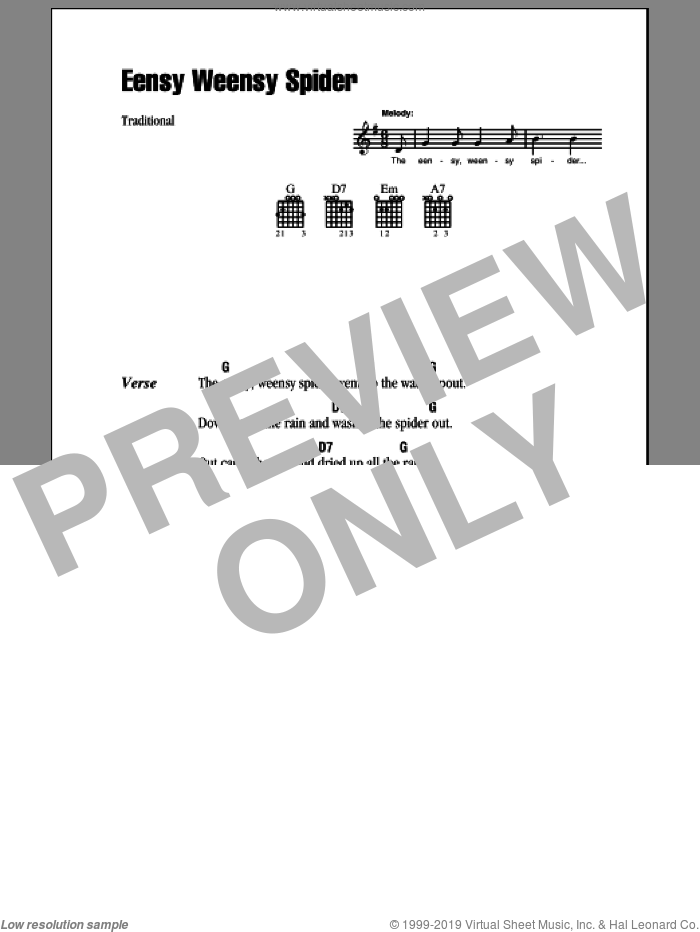 Eensy Weensy Spider sheet music for guitar (chords). Score Image Preview.
