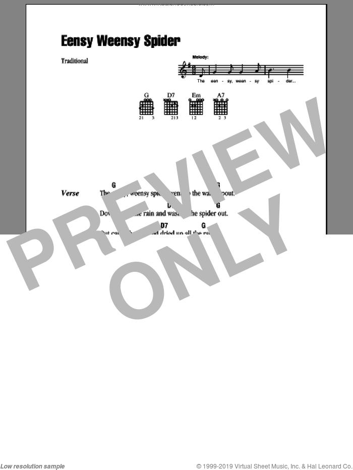 Eensy Weensy Spider sheet music for guitar (chords), intermediate skill level