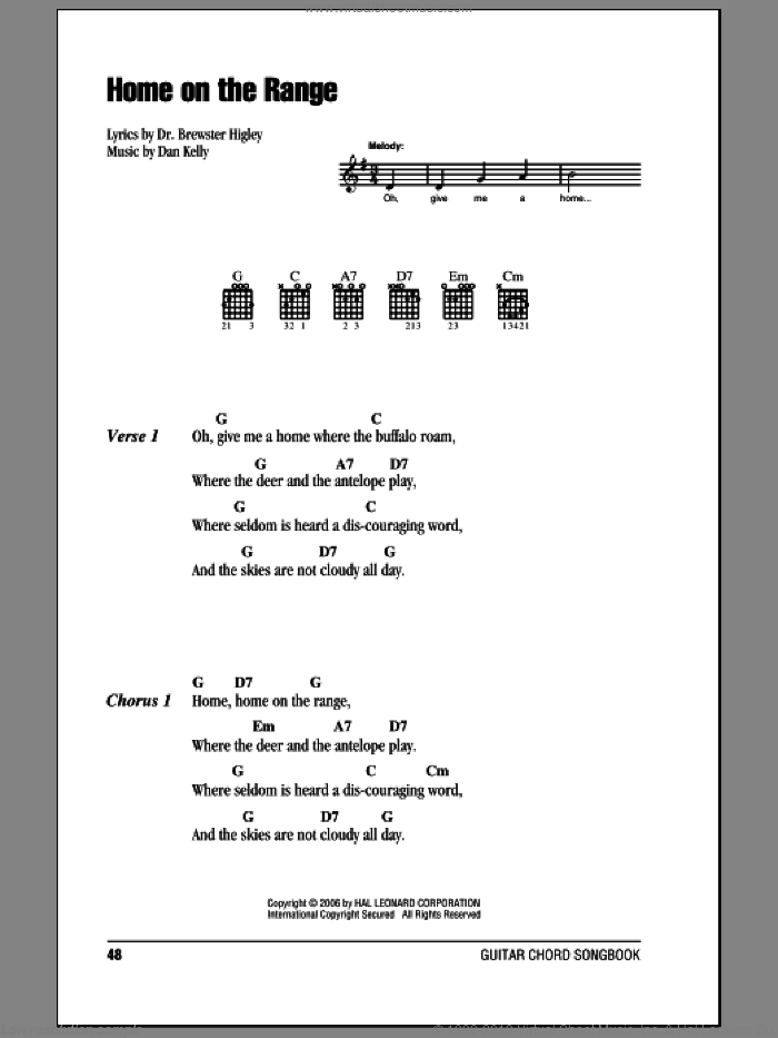 Home On The Range sheet music for guitar (chords, lyrics, melody) by Dr. Brewster Higley