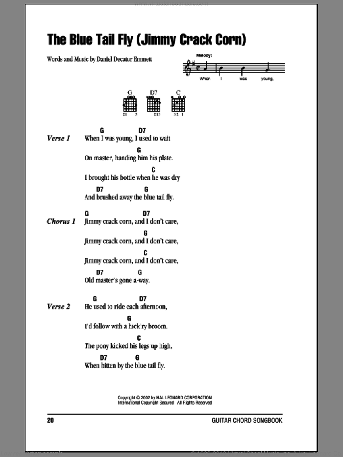 The Blue Tail Fly (Jimmy Crack Corn) sheet music for guitar (chords) by Daniel Decatur Emmett