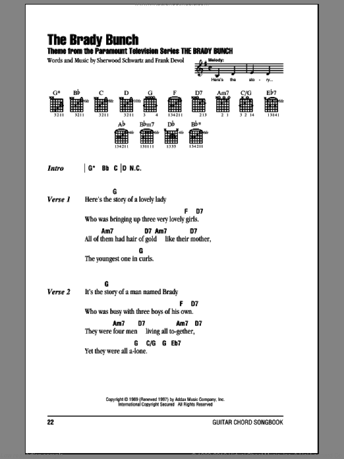 The Brady Bunch sheet music for guitar (chords) by Frank DeVol and Sherwood Schwartz. Score Image Preview.
