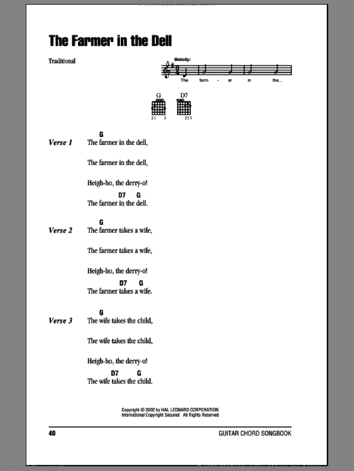 The Farmer In The Dell sheet music for guitar (chords). Score Image Preview.