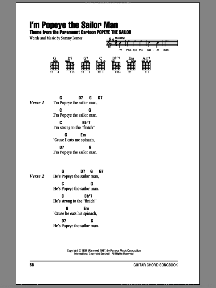 I'm Popeye The Sailor Man sheet music for guitar (chords) by Sammy Lerner, intermediate skill level