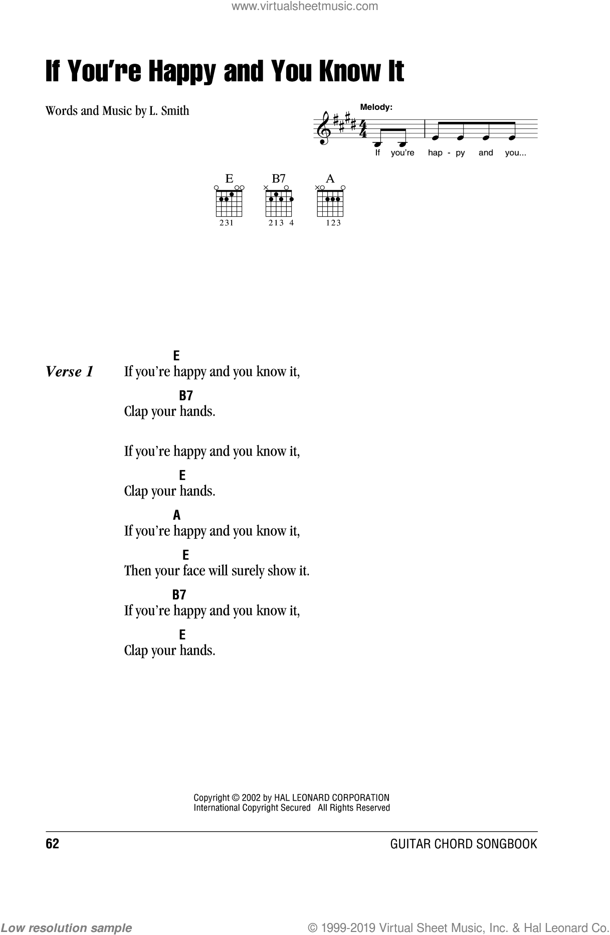 If You're Happy And You Know It sheet music for guitar (chords) by Laura Smith, intermediate. Score Image Preview.