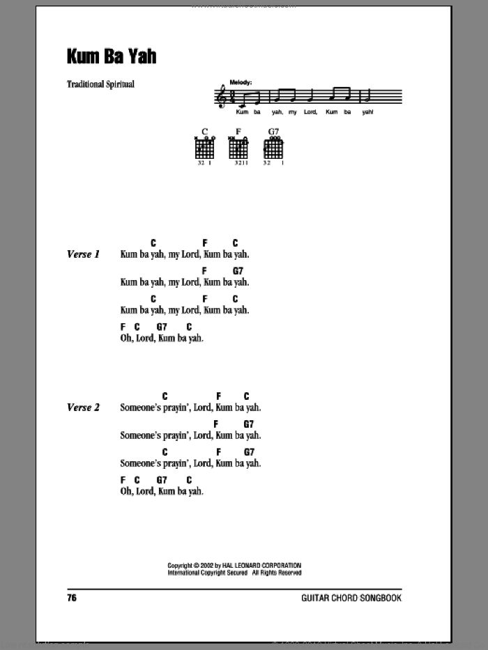 Kum Ba Yah sheet music for guitar (chords), intermediate. Score Image Preview.