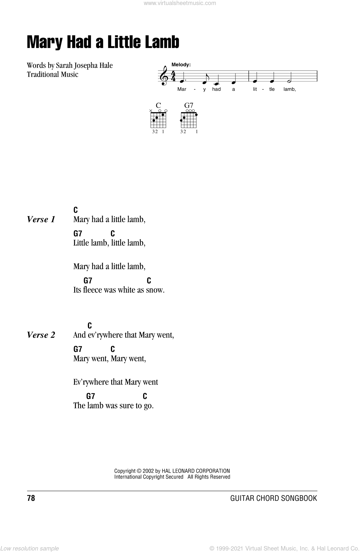 Mary Had A Little Lamb Sheet Music For Guitar Chords Pdf