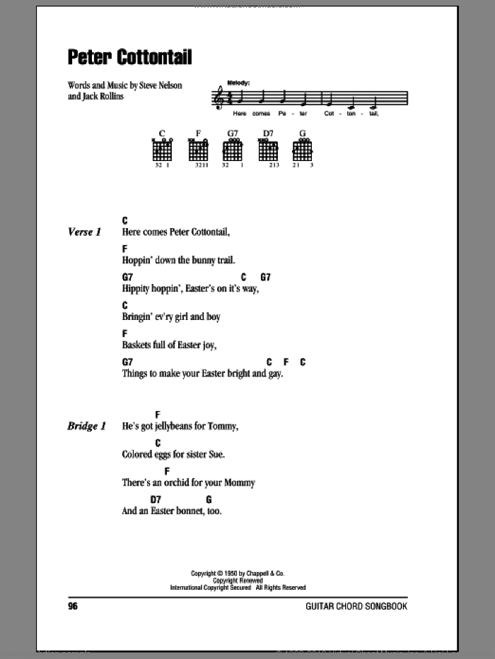 Peter Cottontail sheet music for guitar (chords) by Steve Nelson and Jack Rollins. Score Image Preview.