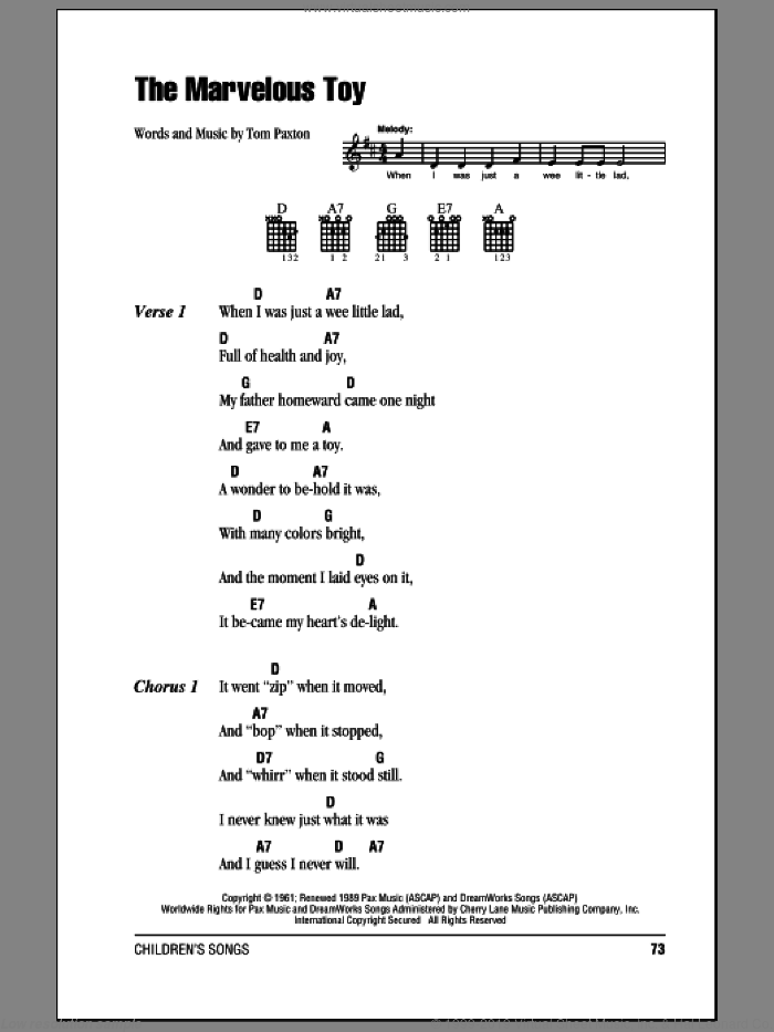 The Marvelous Toy sheet music for guitar (chords) by Tom Paxton and John Denver, intermediate. Score Image Preview.