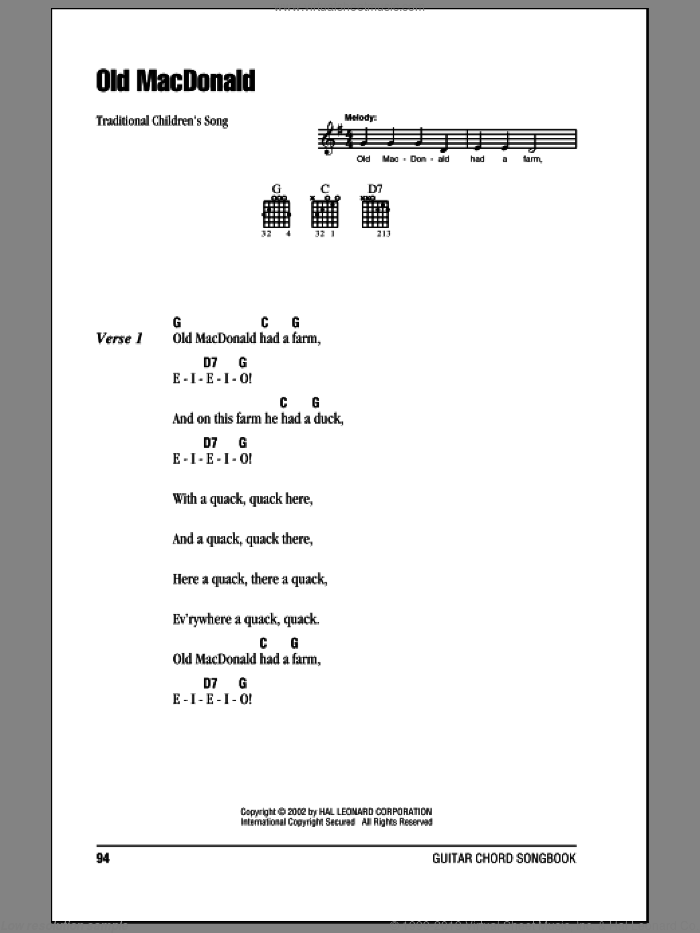 Old MacDonald sheet music for guitar (chords). Score Image Preview.