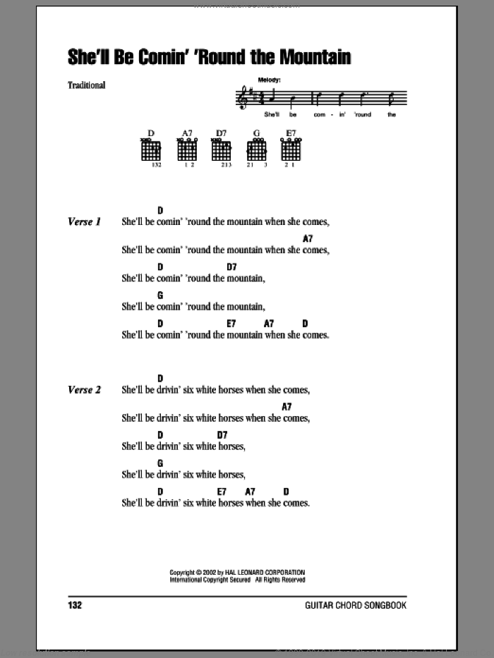 She'll Be Comin' 'Round The Mountain sheet music for guitar (chords). Score Image Preview.