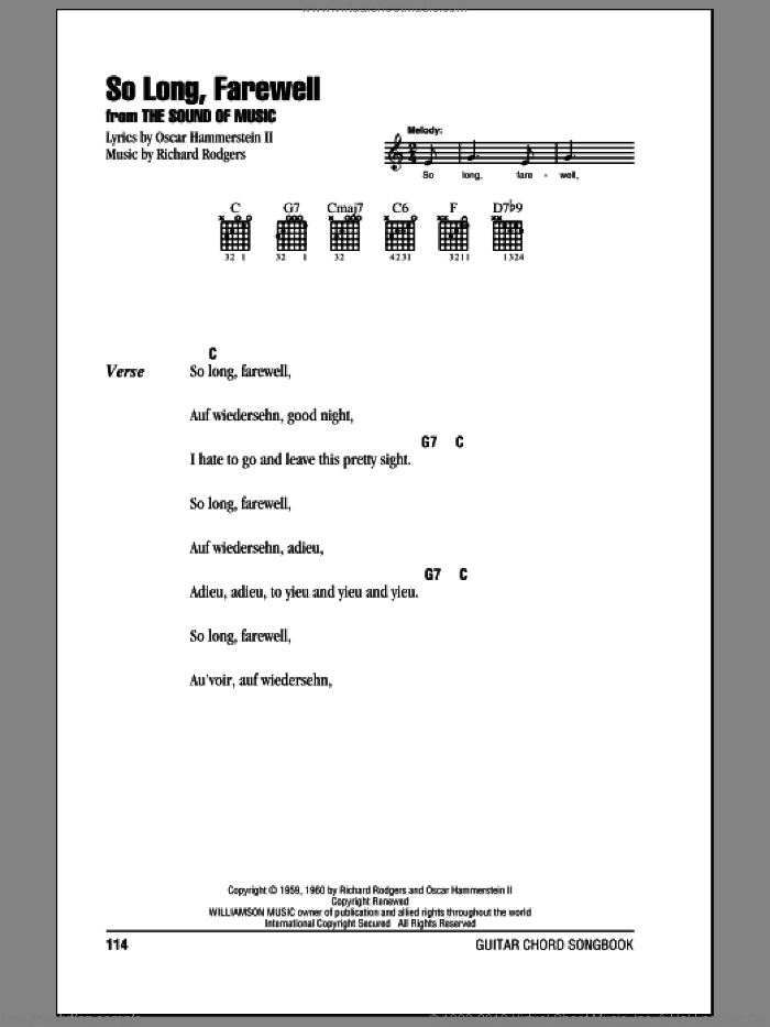 So Long, Farewell sheet music for guitar (chords) by Rodgers & Hammerstein, The Sound Of Music (Musical), Oscar II Hammerstein and Richard Rodgers. Score Image Preview.