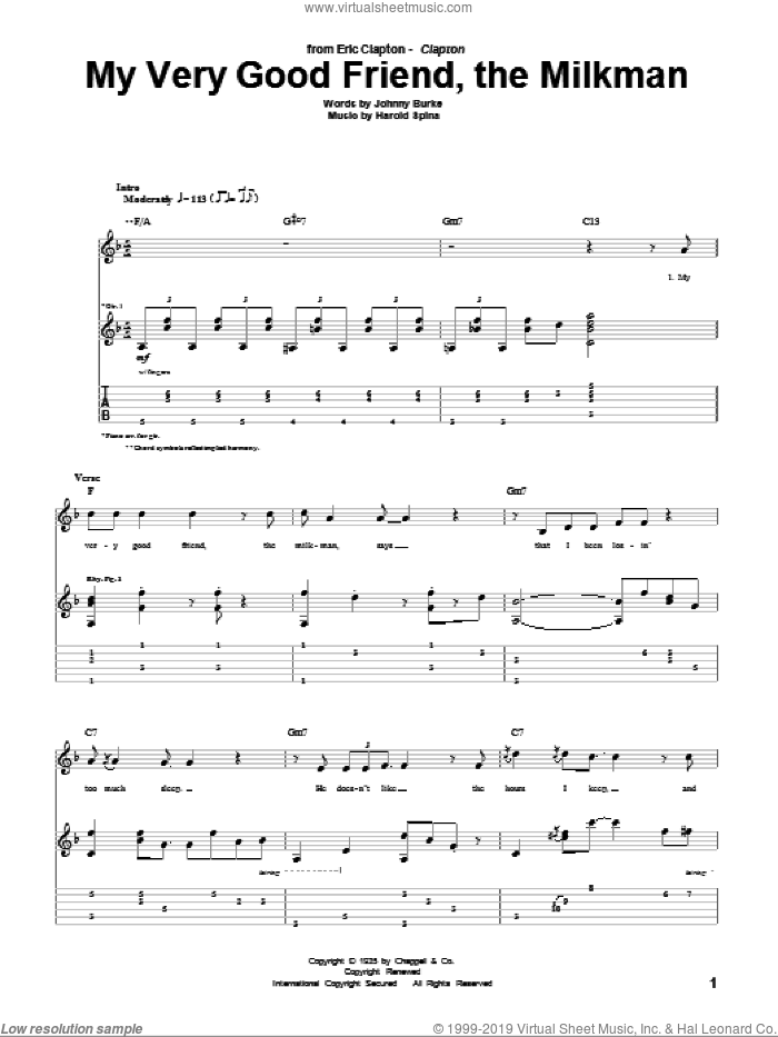 My Very Good Friend, The Milkman sheet music for guitar (tablature) by Eric Clapton, Harold Spina and John Burke, intermediate. Score Image Preview.