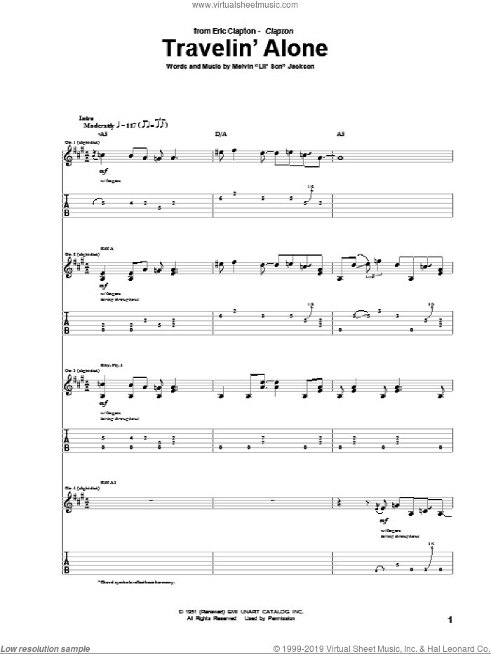 Travelin' Alone sheet music for guitar (tablature) by Eric Clapton, intermediate guitar (tablature). Score Image Preview.