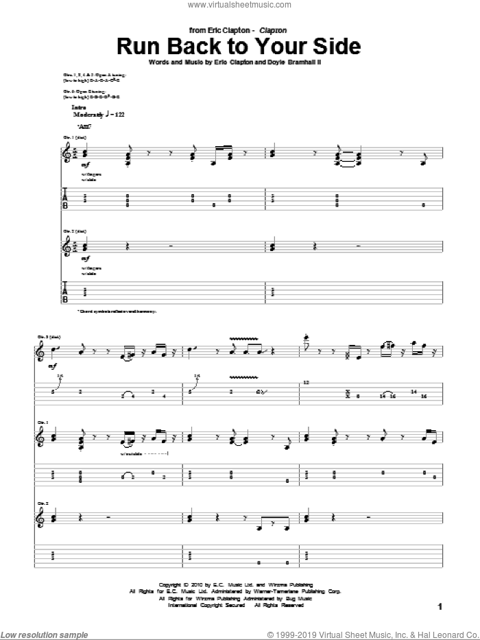 Run Back To Your Side sheet music for guitar (tablature) by Eric Clapton and Doyle Bramhall. Score Image Preview.