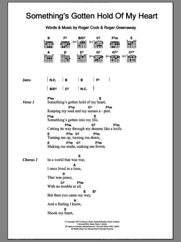 Pitney Somethings Gotten Hold Of My Heart Sheet Music For Guitar