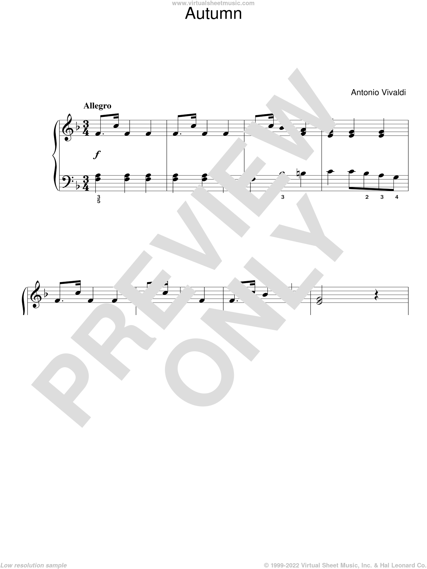 Autumn (from The Four Seasons) sheet music for piano solo by Antonio Vivaldi, classical score, easy skill level