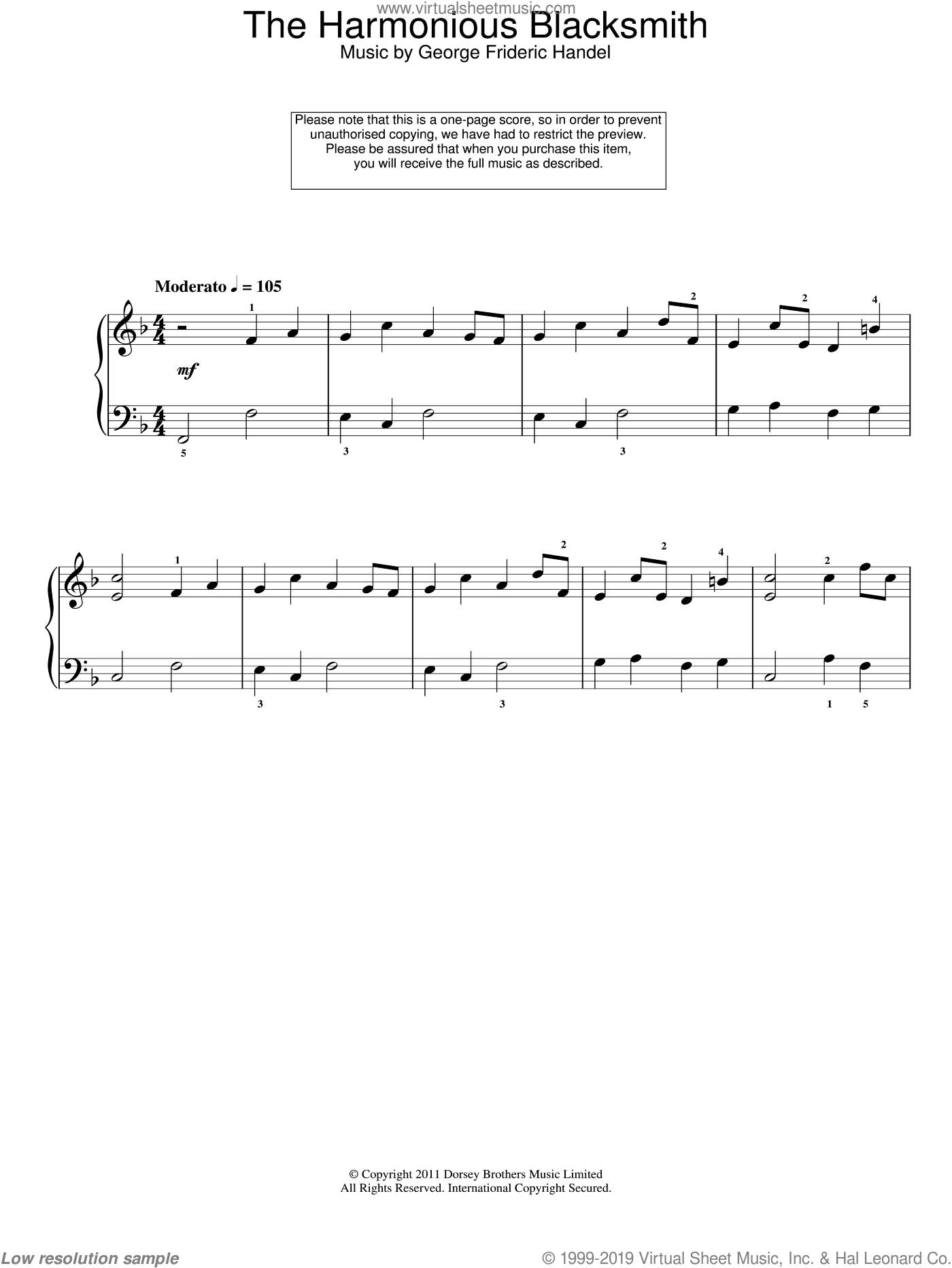 The Harmonious Blacksmith sheet music for piano solo by George Frideric Handel. Score Image Preview.