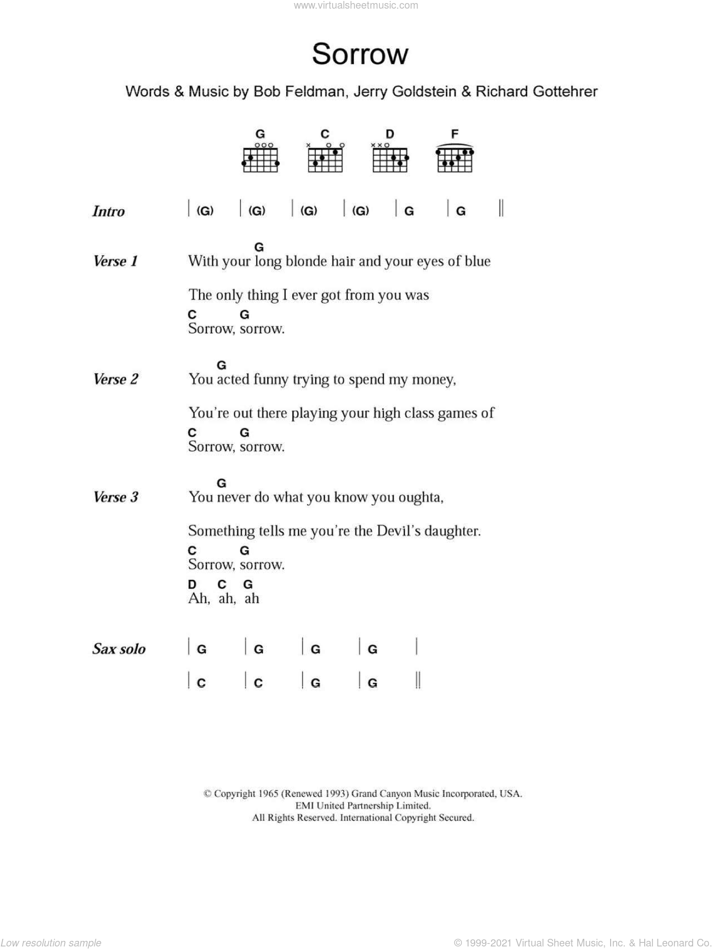 Sorrow sheet music for guitar (chords) by David Bowie, Bob Feldman, Jerry Goldstein and Richard Gottehrer, intermediate skill level