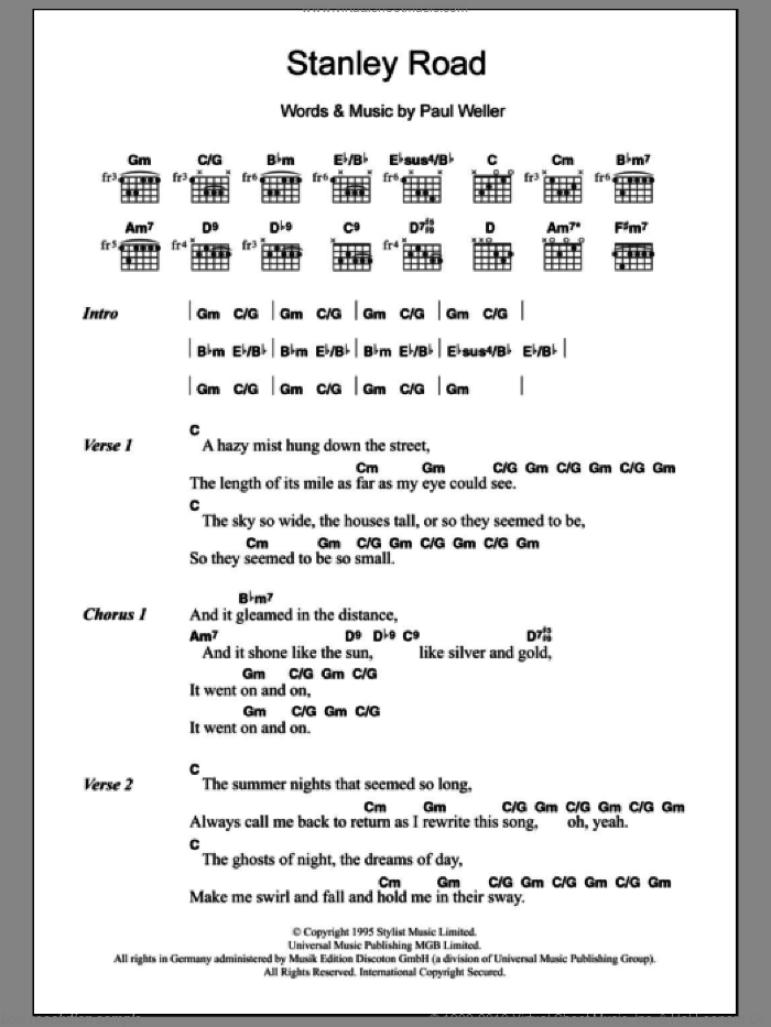 Weller Stanley Road Sheet Music For Guitar Chords Pdf