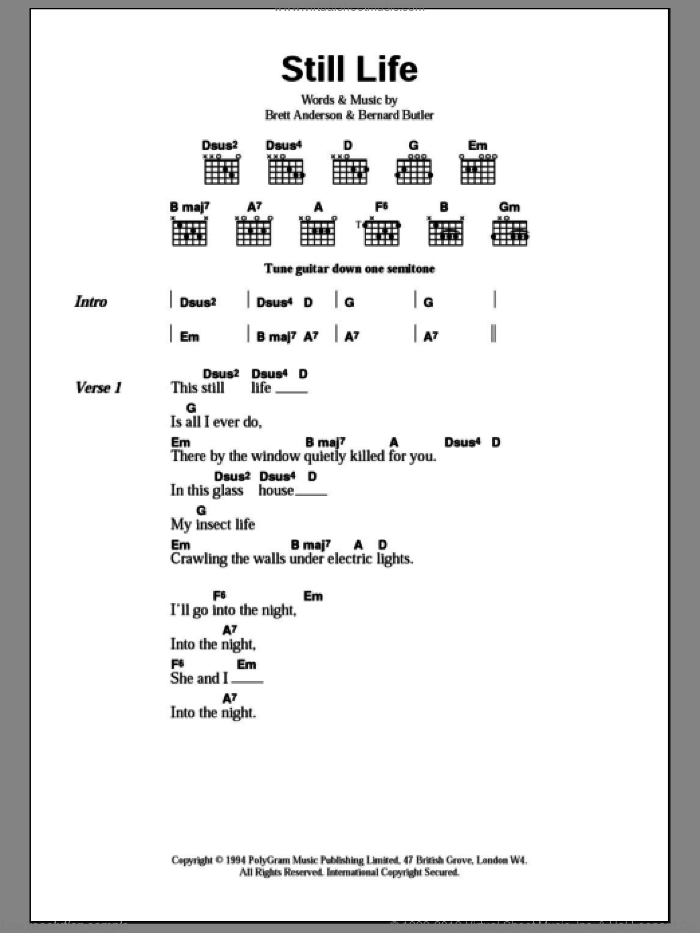 Still Life sheet music for guitar (chords) by Brett Anderson