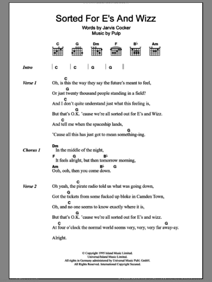 Sorted For E's And Wizz sheet music for guitar (chords) by Jarvis Cocker and Pulp. Score Image Preview.