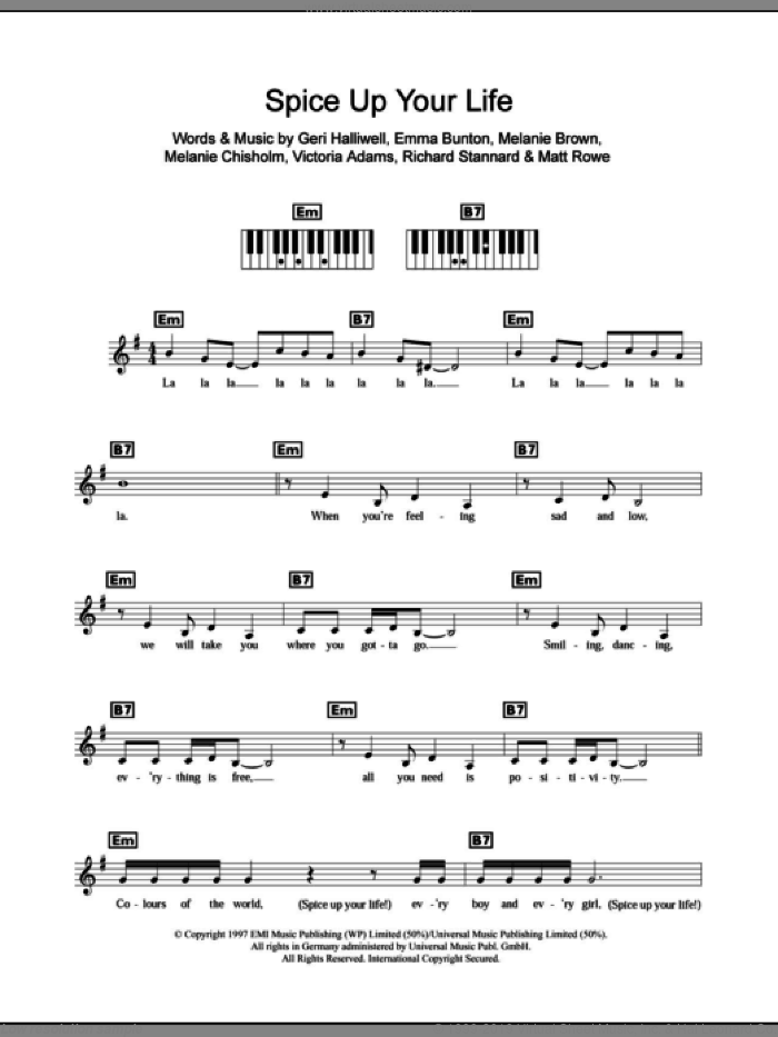 The Spice Girls Spice Up Your Life Sheet Music For Piano Solo