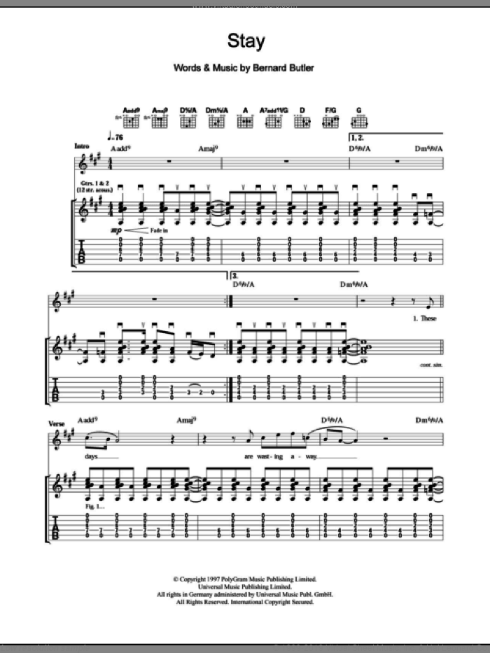 Stay sheet music for guitar (tablature) by Bernard Butler. Score Image Preview.