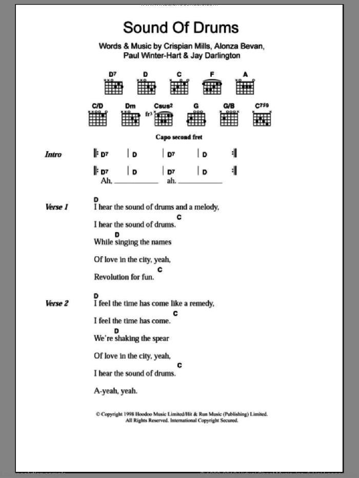 Sound Of Drums sheet music for guitar (chords) by Paul Winter-Hart, Kula Shaker, Alonza Bevan and Crispian Mills. Score Image Preview.