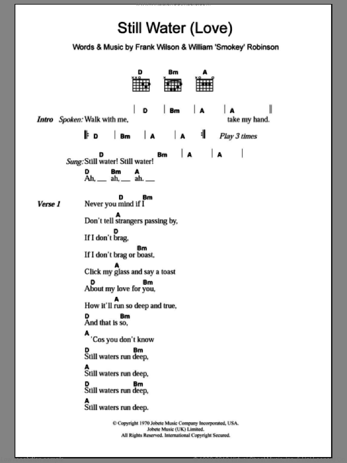Still Water (Love) sheet music for guitar (chords) by William 'Smokey' Robinson