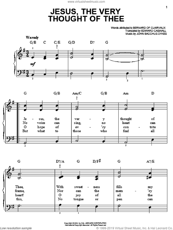 Jesus, The Very Thought Of Thee sheet music for piano solo by Bernard of Clairvaux, Edward Caswall and John Bacchus Dykes, easy skill level
