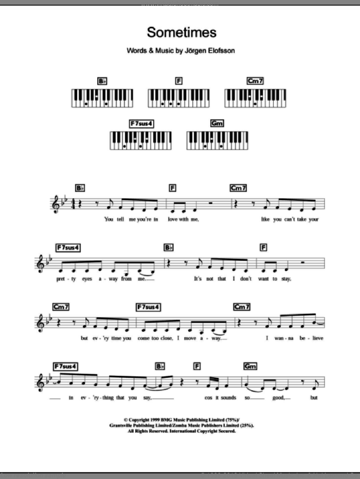 Sometimes sheet music for piano solo (chords, lyrics, melody) by Britney Spears and Jorgen Elofsson, intermediate piano (chords, lyrics, melody)