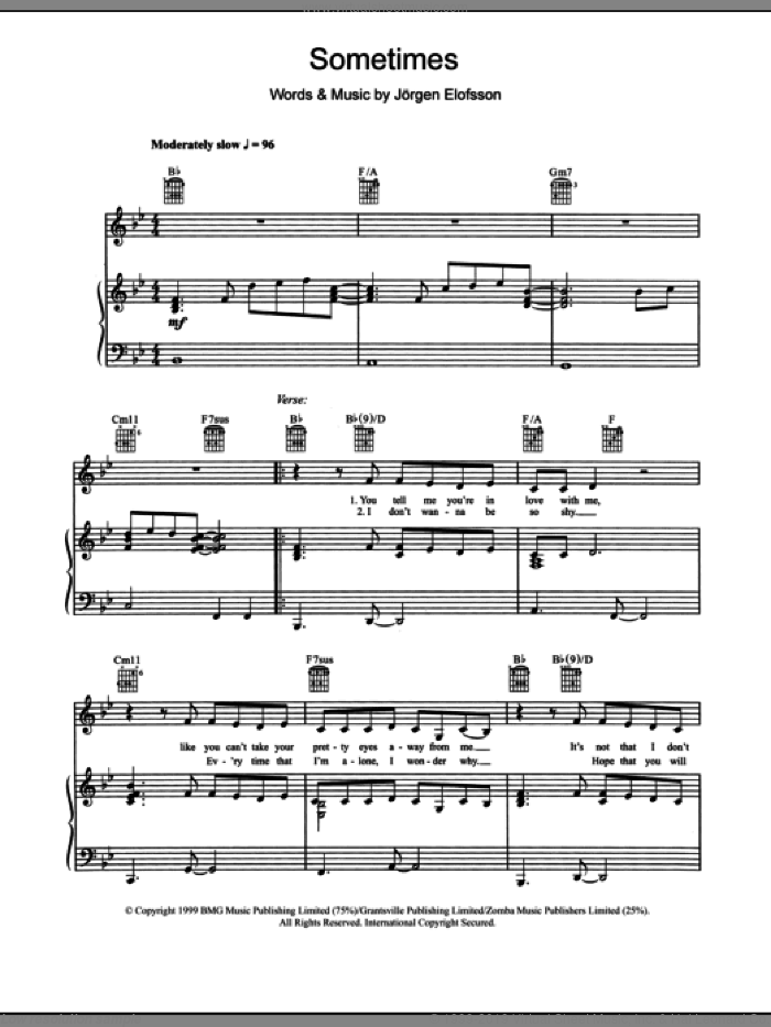 Sometimes sheet music for voice, piano or guitar by Jorgen Elofsson