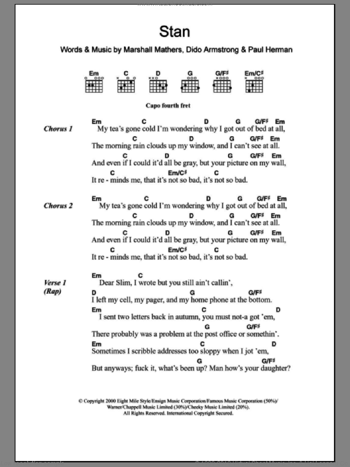 Stan sheet music for guitar (chords) by Eminem, Dido Armstrong, Marshall Mathers and Paul Herman, intermediate skill level