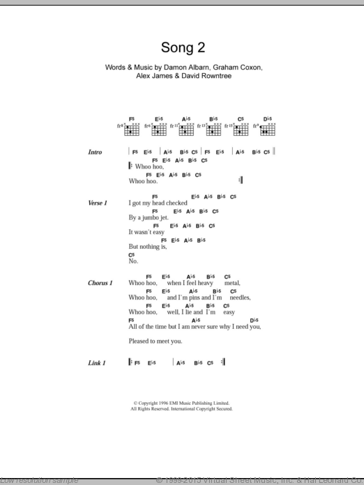Song 2 sheet music for guitar (chords, lyrics, melody) by Graham Coxon