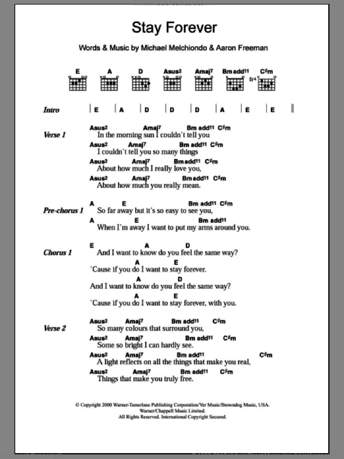 Ween Stay Forever Sheet Music For Guitar Chords Pdf